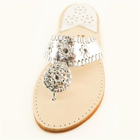 Palm Beach Sandals PB1007-9 Hand Crafted Womens Leather Sandals, Silver & Silver - Size 9
