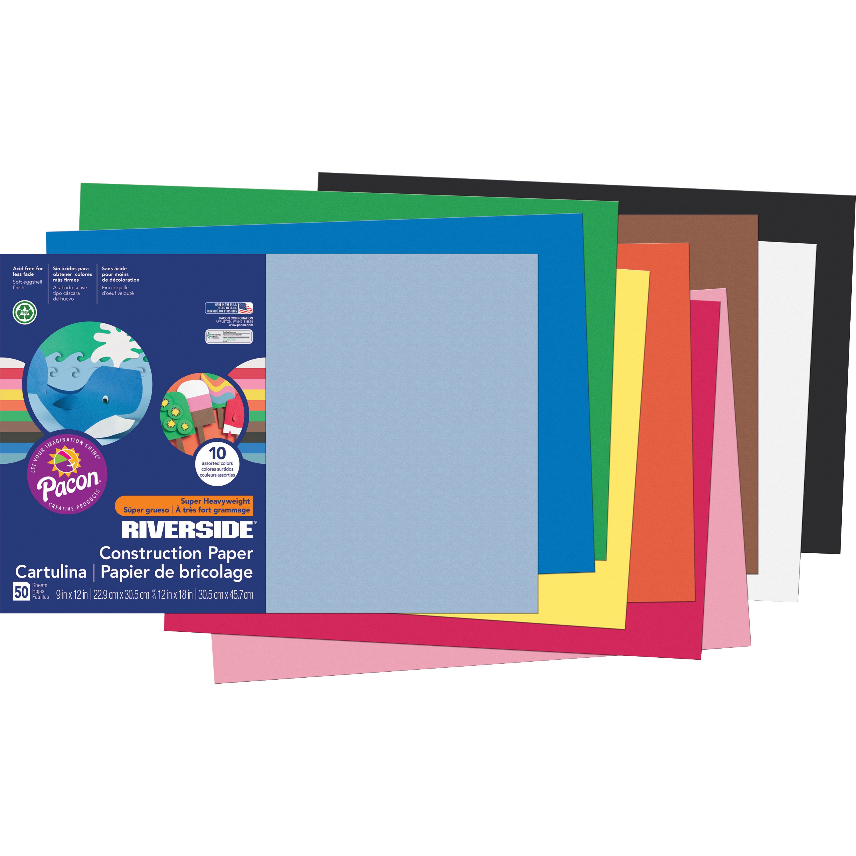 "Riverside 3D Construction Paper, Fade Resistant, 12"" x 18"", Assorted, 50 Sheets"