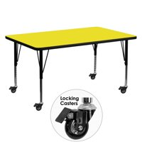 Flash Furniture Mobile 30''W x 60''L Rectangular Activity Table with 1.25'' Thick High Pressure Yellow Laminate Top and Height Adjustable Preschool Legs