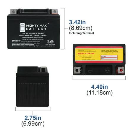 YTX4L-BS Battery for ATV E-Ton NXL, RXL 50CC 99-03 + 12V 1Amp Charger - image 3 de 6
