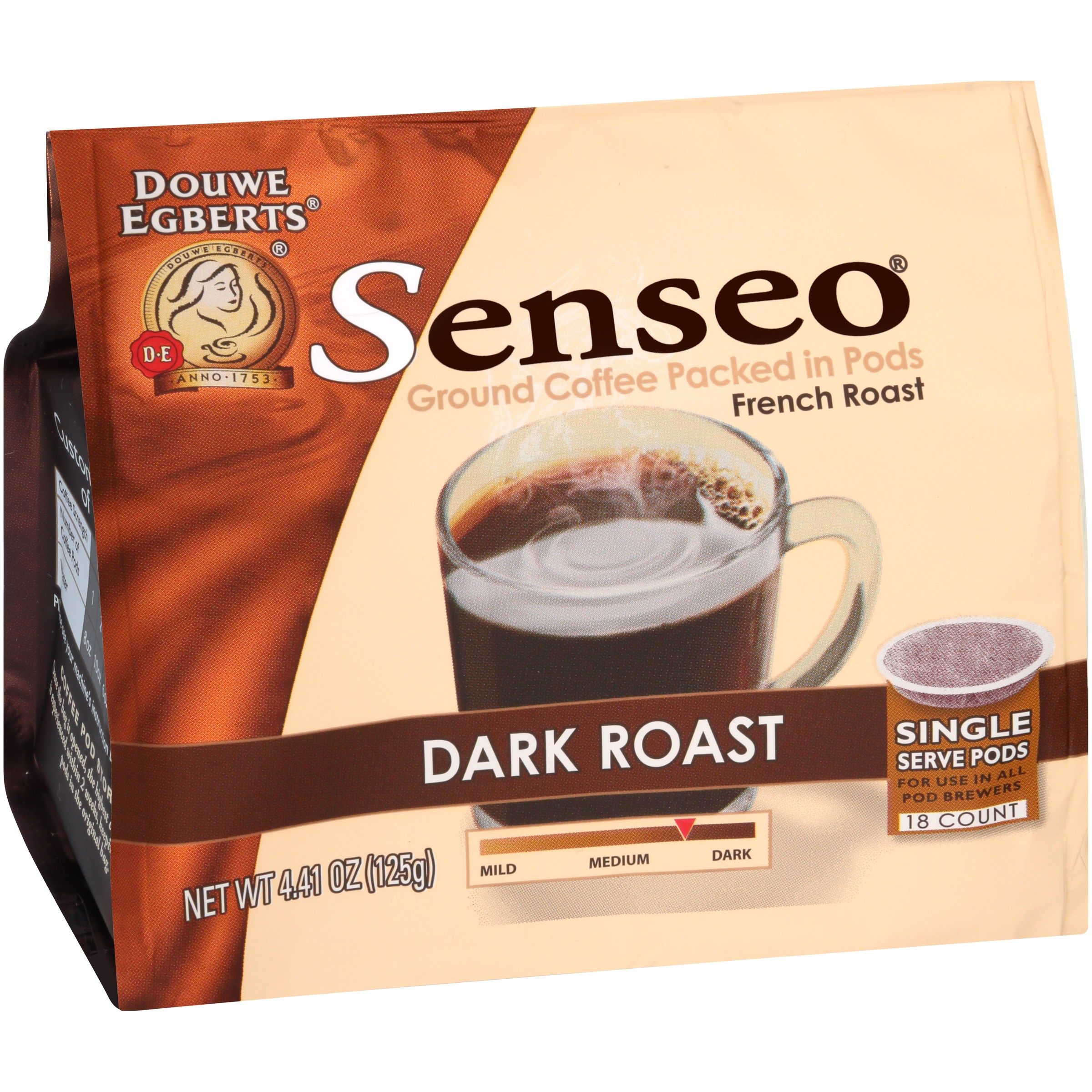 Senseo® Dark Roast French Roast Ground Coffee 18 ct Single Serve Pods 4.41 oz.