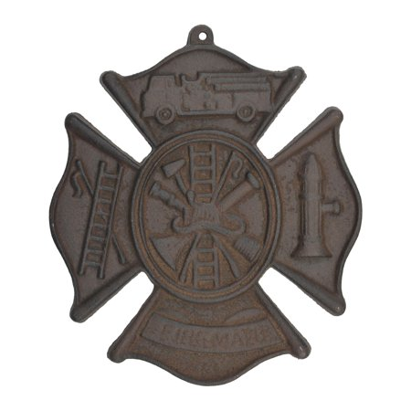 Cast Iron Firefighting Hanging Wall Plaque - Rust Brown Finish - 7.75