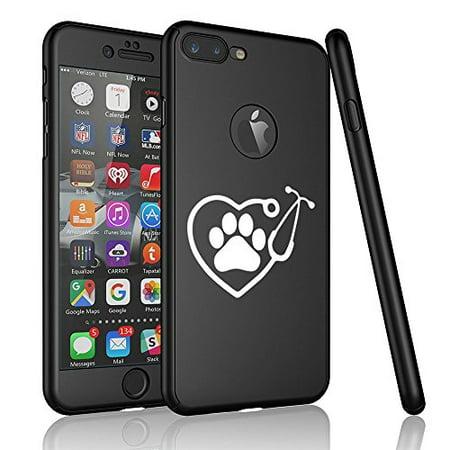 For Apple iPhone 360° Full Body Thin Slim Hard Case Cover + Tempered Glass Screen Protector Heart Stethoscope Vet Tech Veterinarian (Black For iPhone 8 Plus)