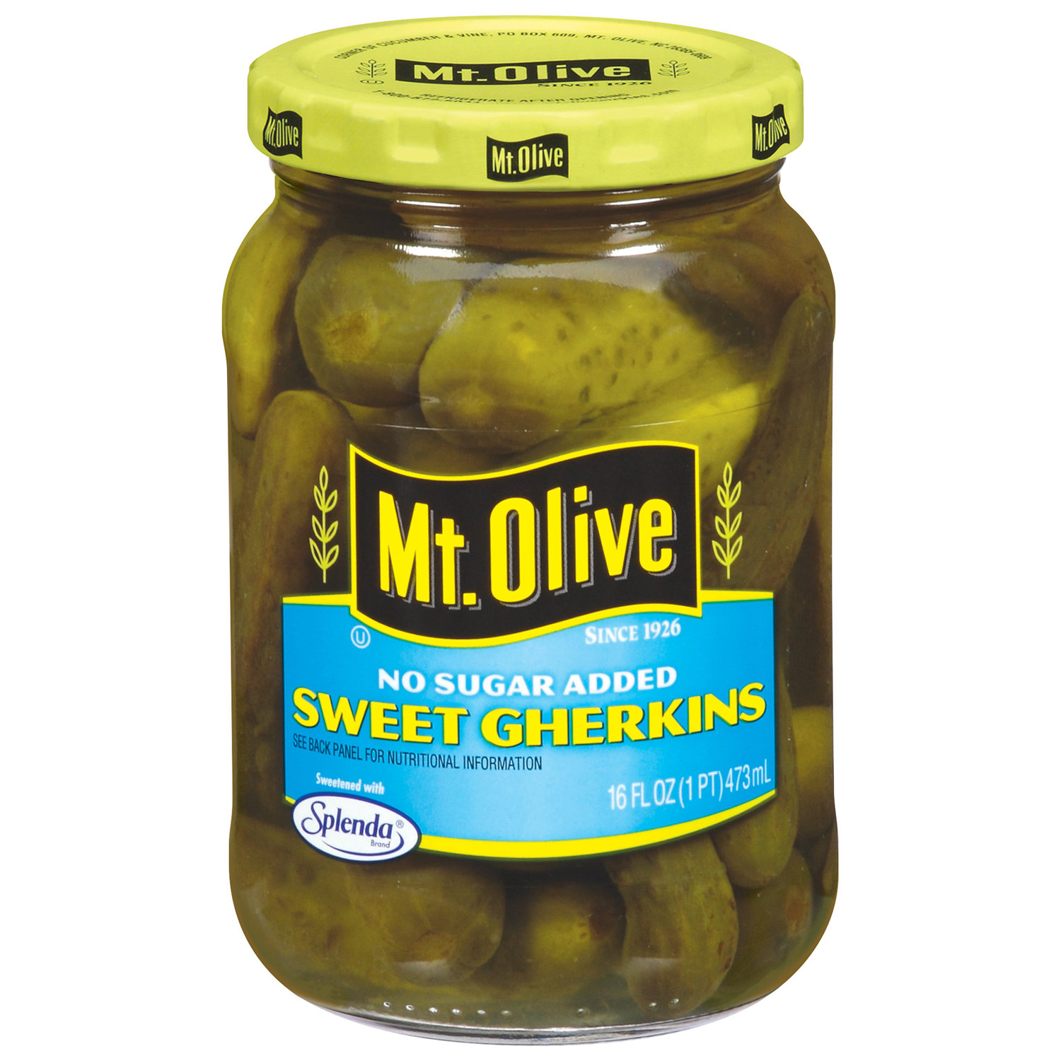 Mt. Olive Sweet Gherkins No Sugar Added Pickles 16 fl. oz. Jar