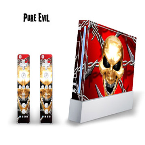 Mightyskins Skin Decal Cover for Nintendo Wii Console + two Wiimote Controllers Sticker- Pure Evil