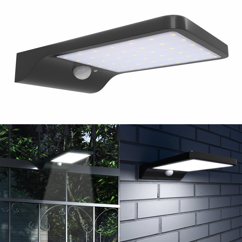 Zimtown 42 Led Gutter Solar Lights Outdoor Security Lighting Motion Sensor 3 In 1 Mode Off Bright Dim 2200mah Battery Wireless Waterproof For Yard Garden