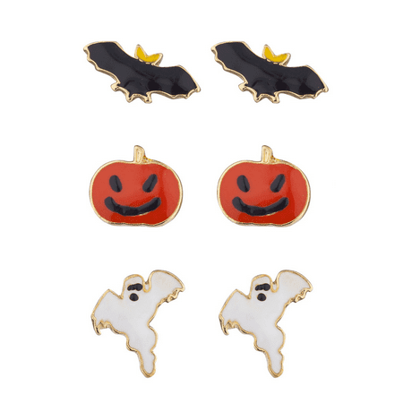 Lux Accessories Festive Halloween Bat Pumpkin Ghost Stud Post Earring Set (3prs)](Halloween Text Post)