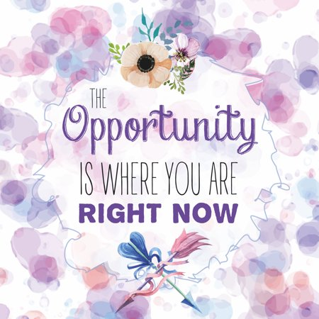 The Opportunity Is Where You Are Right Now Quote Watercolor Paint Background Flower Floral Arrow Inspirational Motivational Signs Commercial Plastic 12X12 Square Sign