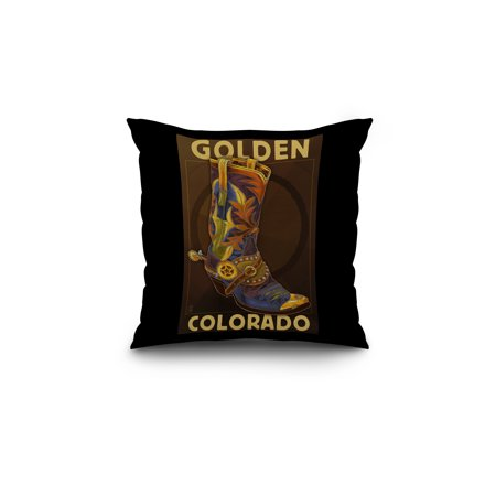 Golden Colorado Cowboy Boot Lantern Press Poster 18x18 Spun Polyester