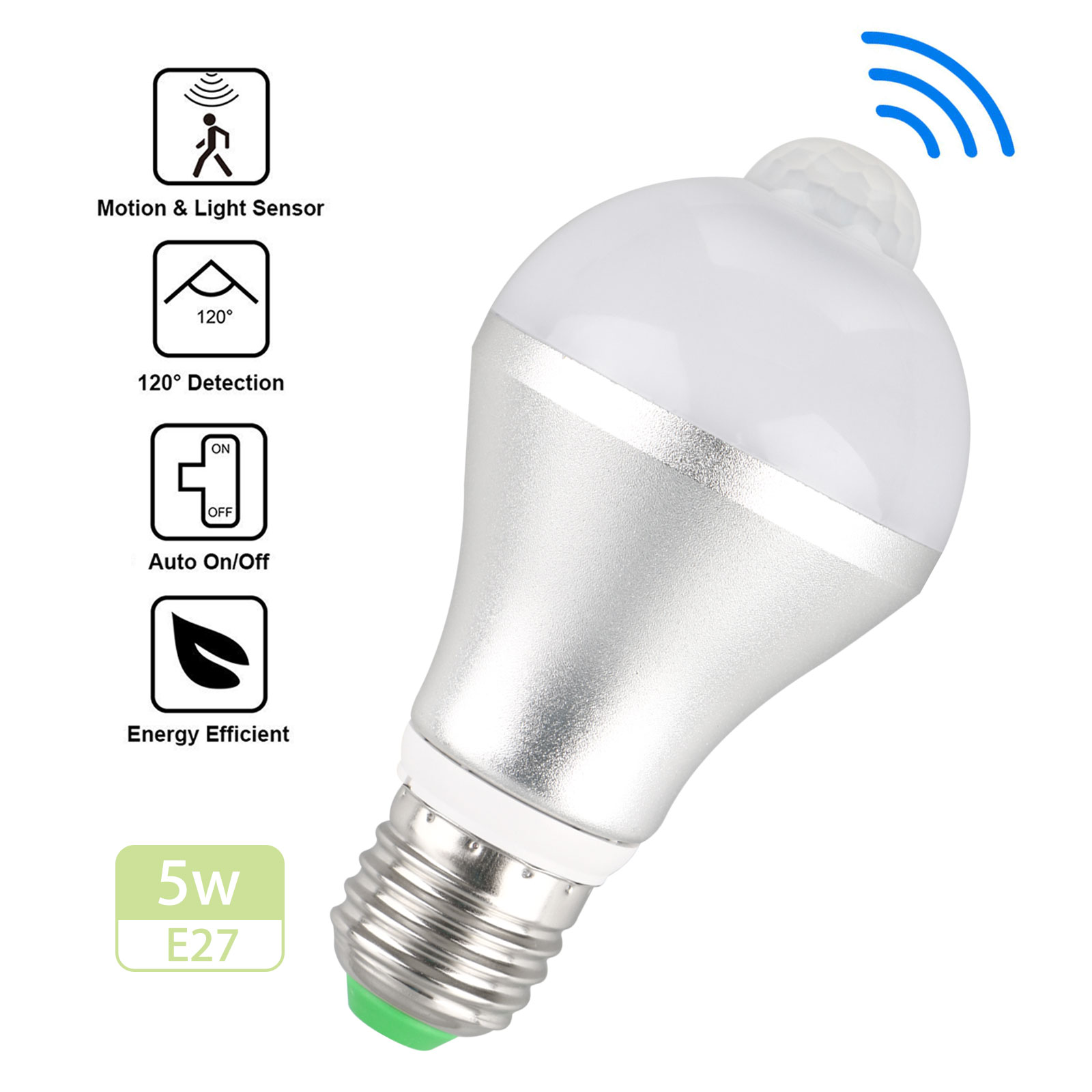 Indoor/Outdorr 5W 7W E27 Dusk to Dawn Motion Sensor LED Bulb Activated Light