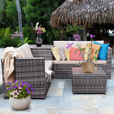 Costway 4PCS Patio Rattan Wicker Furniture Set Sofa Loveseat Cushioned with Storage Box ()