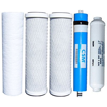 "Watts Reverse Osmosis Replacement Filter Set 5 pcs w/ CSM 50 GPD Membrane with 1/4"" NPT Inline"