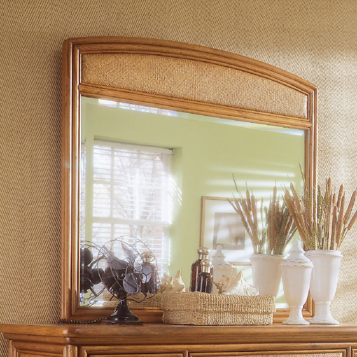 American Drew Antigua Landscape Mirror in Toasted Almond