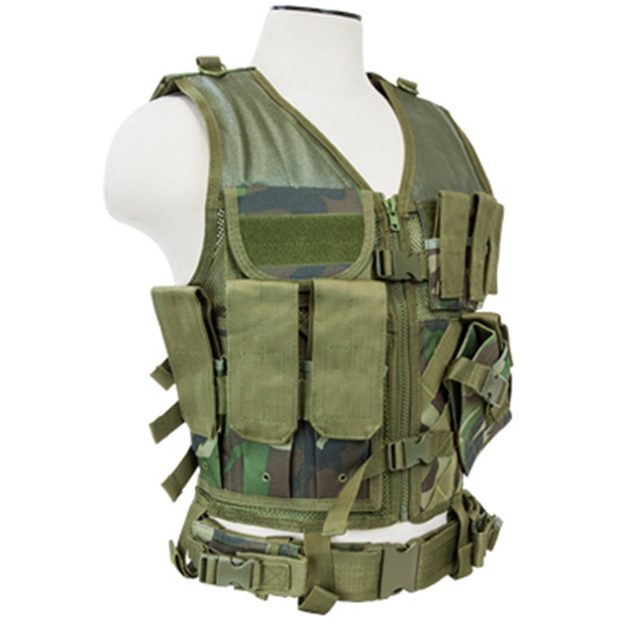 NcSTAR Tactical Vest, Larger Size, Woodland Camo (XL to XXL+)