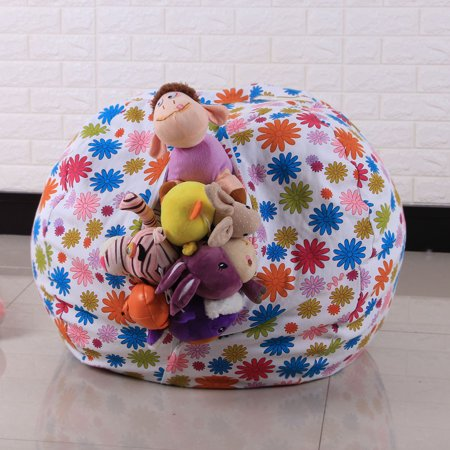 Kids Stuffed Animal Plush Toy Storage Bean Bag Soft Pouch Stripe