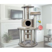"""HIDING CAT TREE 48"""" Tall Cat Tree Tower Condo Furniture Scratch Post Kitty Pet House Play Furniture Sisal Pole and Ladder Stairs (Beige)"""