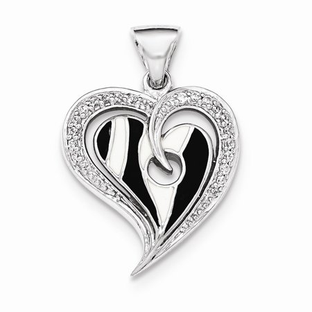 Sterling Silver Polished Heart With Black and White Enamel Cubic Zirconia Pendant ()