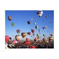 Low angle view of hot air balloons rising Albuquerque International Balloon Fiesta Albuquerque New Mexico USA Canvas Art -  (24 x 18)