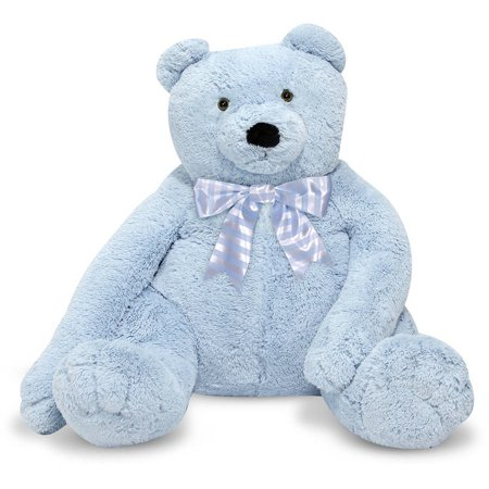 Melissa & Doug Jumbo Blue Teddy Bear Stuffed Animal, over 2' tall