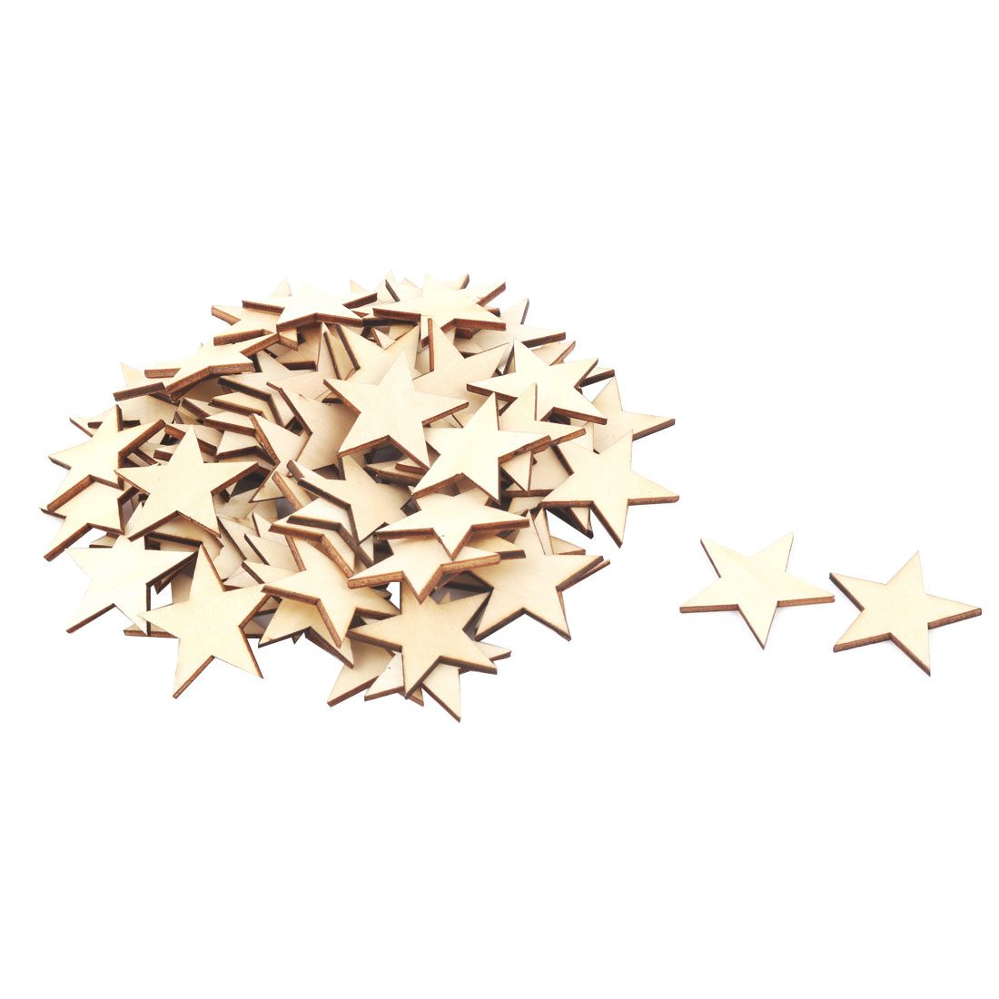 Unique Bargains Wooden Star Shaped DIY Craft Christmas Tree Ornaments Beige 40 x 40mm 75 Pcs