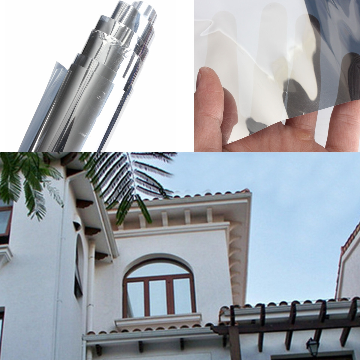 2Pcs 70% VLT Solar Reflective One Way Mirror Window Film Insulation Stickers Window Decorative, Silver