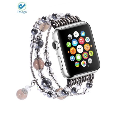 Deago Elastic Strap Replacement iWatch Band Bling Agate Beads Bracelet For Apple Watch iWatach Series 4 3 2 1 (38mm/Gray)