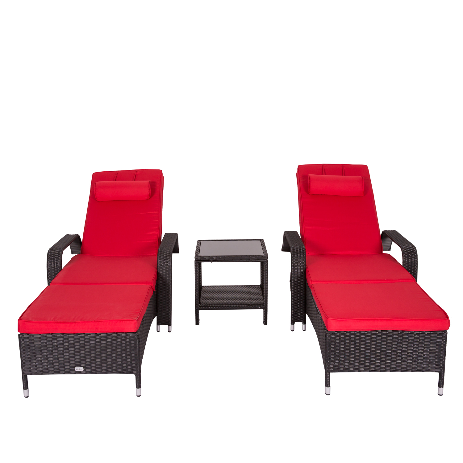 Kinbor 3pcs Outdoor Recliner Black Rattan Wicker Patio Chaise Lounge Sliding Tray Chair Table Furniture