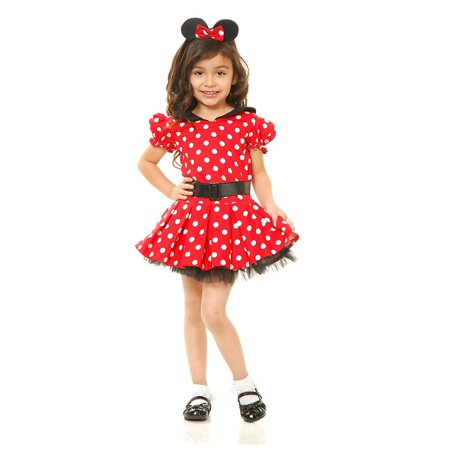 Miss Mouse Costume Dress, Red, Toddler, Imported By Charades Ship from US (Imported Dresses)