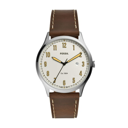 Fossil Men's Forrester Three-Hand Date Brown Leather Watch FS5589 Date Brown Leather