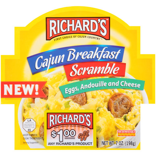 Richard's Cajun Breakfast Scramble Eggs, Andouille and Cheese, 7 oz