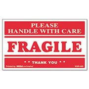 """Universal Office Products Fragile Handle with Care"""" Self-Adhesive Shipping Labels, 3 x 5, 500/Rol 308383"""