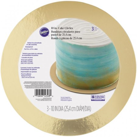 Wilton 10-Inch Round Cake Boards, Gold, 3-Count - 10 In Cake