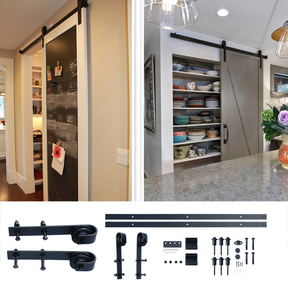 Classic Dersign 10 Feet Arrow Style Sliding Barn Door Hardware Barn Wood Door Track Wheel Kit Flat Head Black