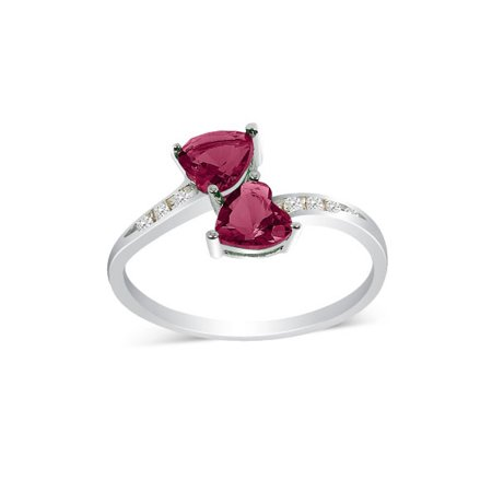 .90 tcw Heart Cut Red cr Ruby & Round Diamond 2 Stone Unique Ring Sterling Silver ()