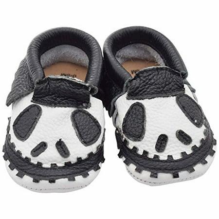 Unique Boys Shoes (Unique Baby Limited Edition Genuine Leather Halloween Moccasins Jack Frost 3-6)