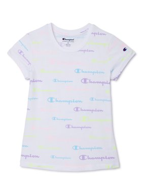 Champion Girls All Over Logo Active T-Shirt, Sizes 7-16
