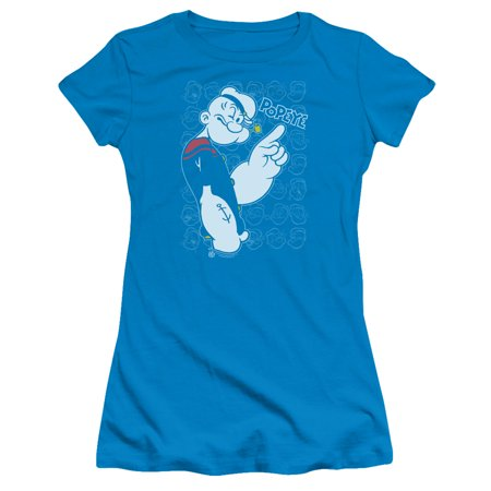 Popeye - Get To The Point - Juniors Teen Girls Cap Sleeve Shirt - X-Large