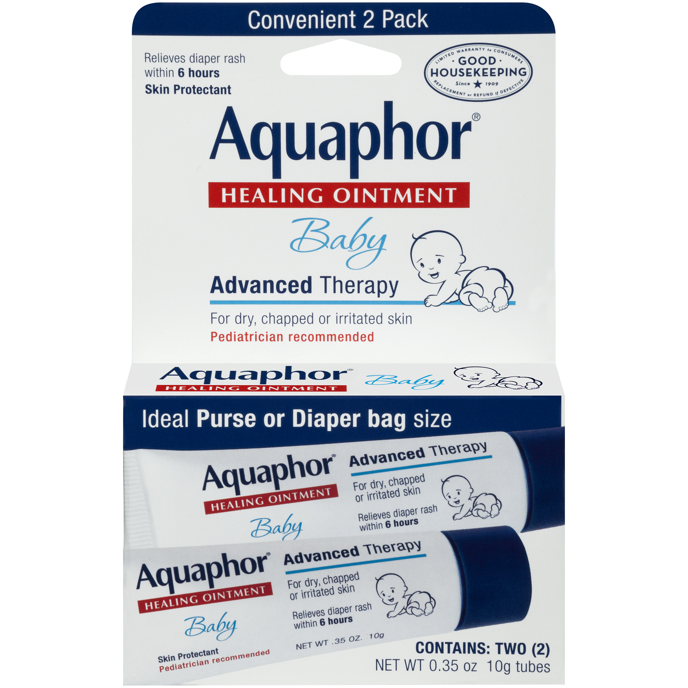 Aquaphor Baby Advanced Therapy Healing Ointment Skin Protectant 2-.35 oz. Tubes