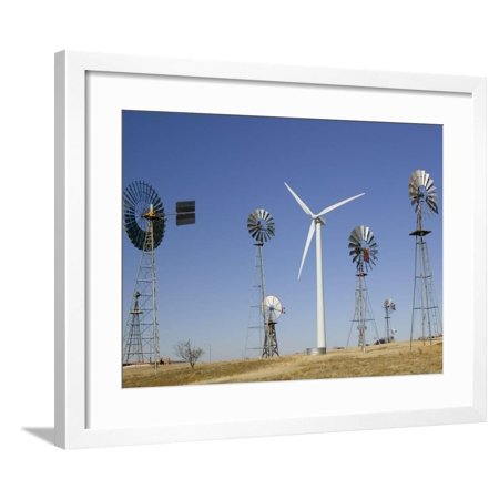 Southwest Wind Power Turbines (Traditional Windmills with a Wind Turbine on a Landscape, American Wind Power Center, Lubbock Framed Print Wall Art)