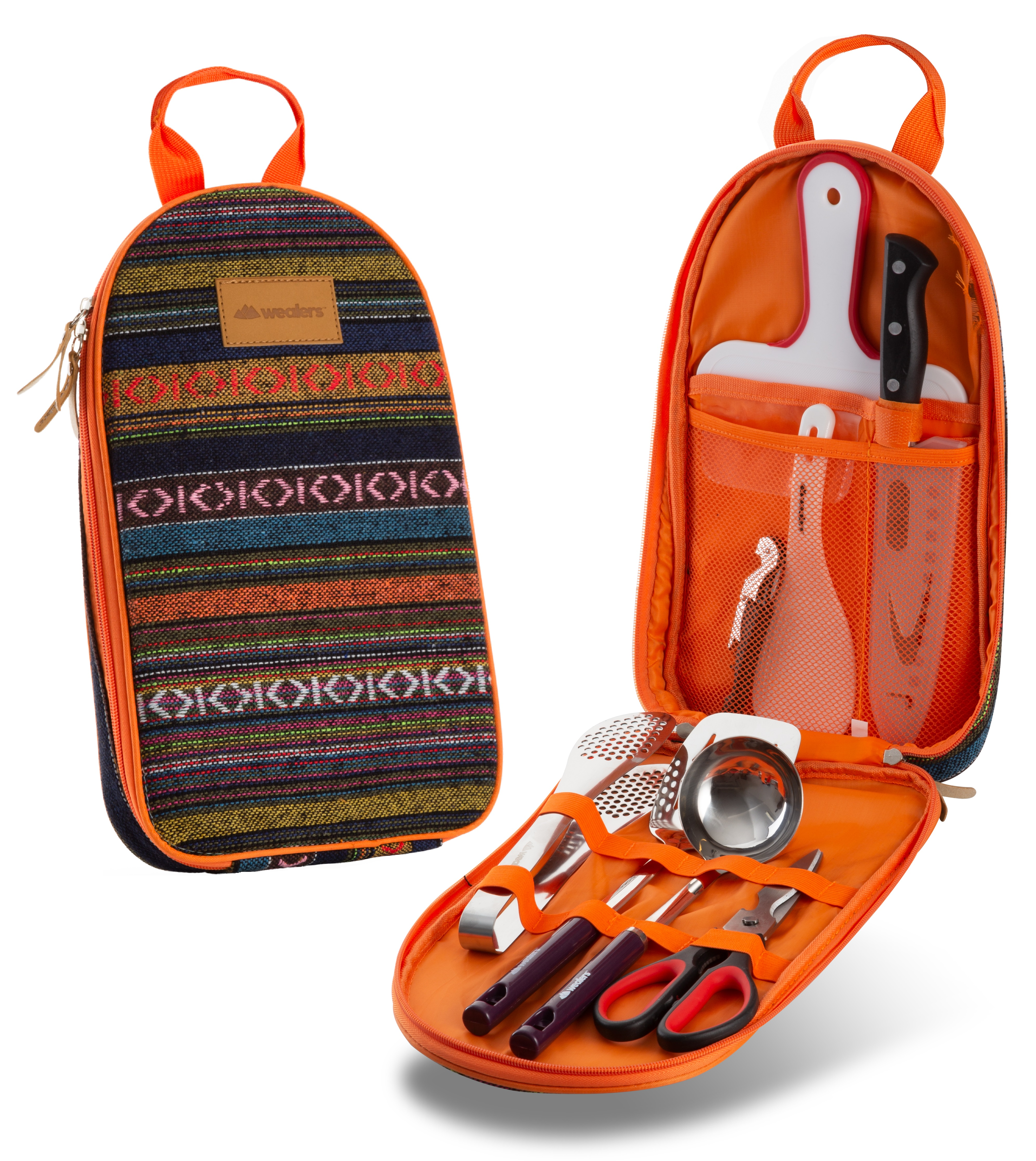 Cutting Board Outdoor Camping Rice Paddle and Water Resistant Case for Backpacking Scissors Knife Camp Kitchen Utensil Organizer with Tongs Odoland 8 Pcs Camping Cookware Utensils Travel Set