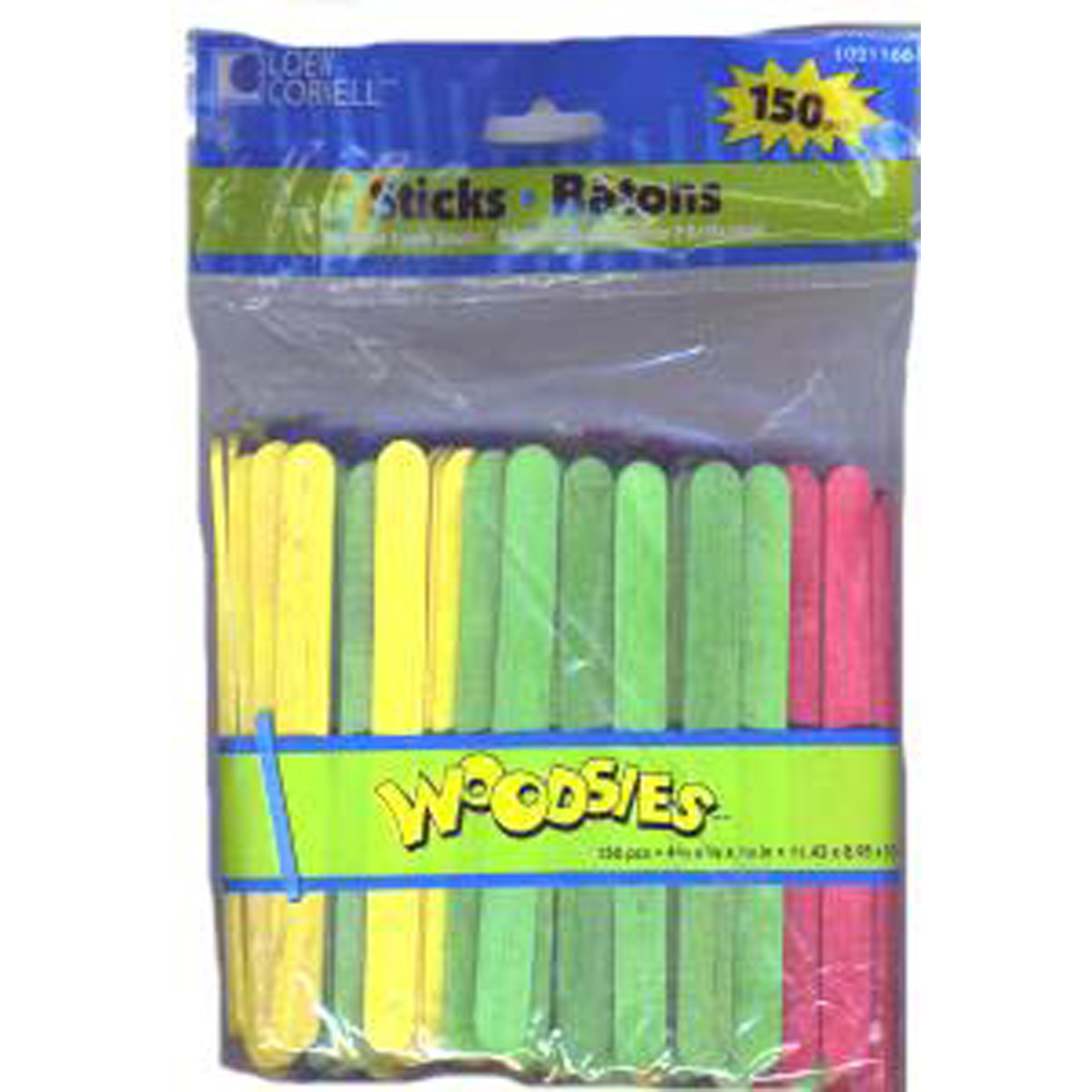 "Colored Craft Sticks, Wood, Asst. 150 Ct, 4 1/2"" - 1 Pkg"
