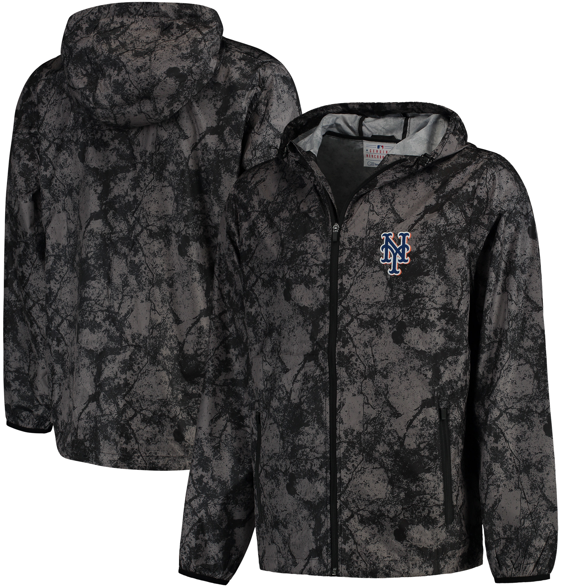 New York Mets G-III Sports by Carl Banks Wind Chill Lightweight Full-Zip Jacket - Charcoal