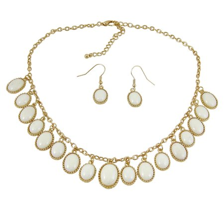 - Elegant Oval Statement Necklace Earrings Set Pearl White