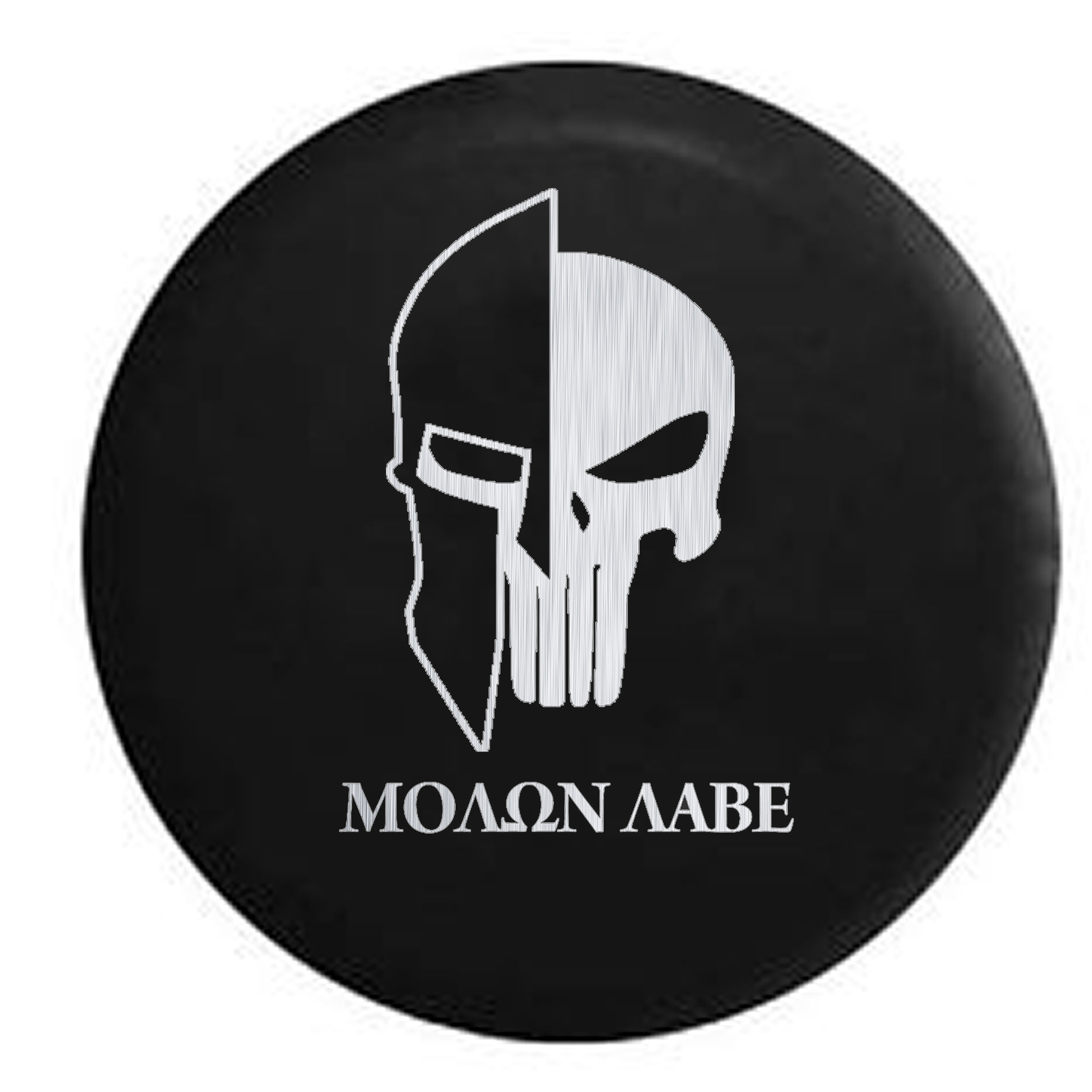 Molon Labe Tactical Skull Helmet Brushed Steel Spare Tire Cover