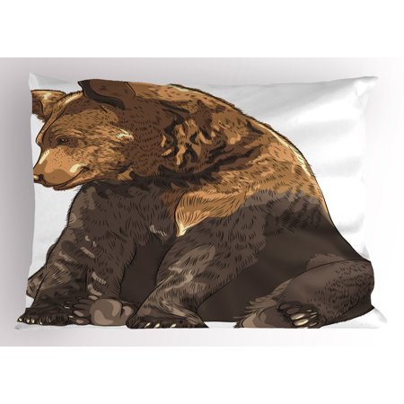 Bear Pillow Sham Big and Cute Mammal Sitting Smiling Wildlife Beast Nature Inspired Cartoon Mascot, Decorative Standard Queen Size Printed Pillowcase, 30 X 20 Inches, Taupe Brown, by Ambesonne ()