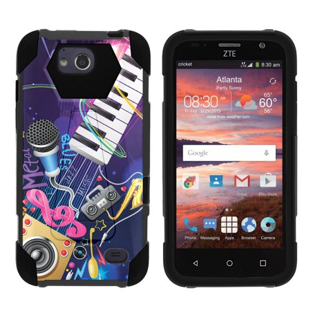 TurtleArmor ® | For ZTE Majesty Pro [Dynamic Shell] Dual Layer Hybrid Silicone Hard Shell Kickstand Case - Music Band