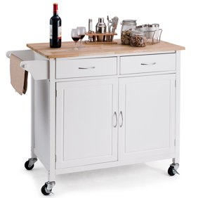 Extra Large Kitchen Cart, White with Stainless Steel Top - Box A