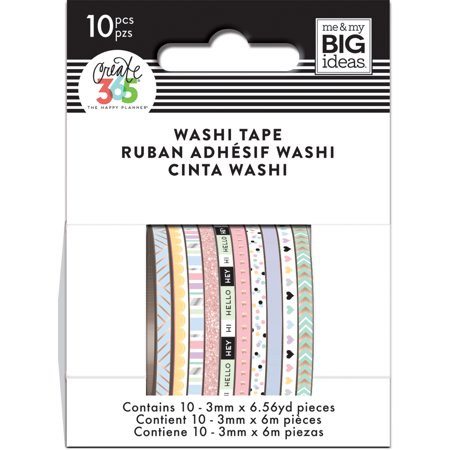 Happy Planner Mini Washi Tape 3mmx6.56yd Each 10/Pkg-Pastel