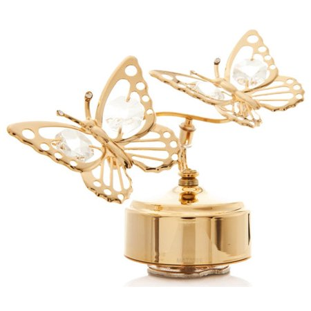 Matashi Crystal Double Butterfly Music Box Figurine