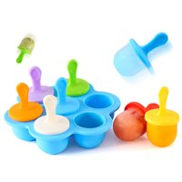 Silicone Baby Food Container DIY Ice Cream Popsicle Frozen Dessert Maker With Colorful Sticks